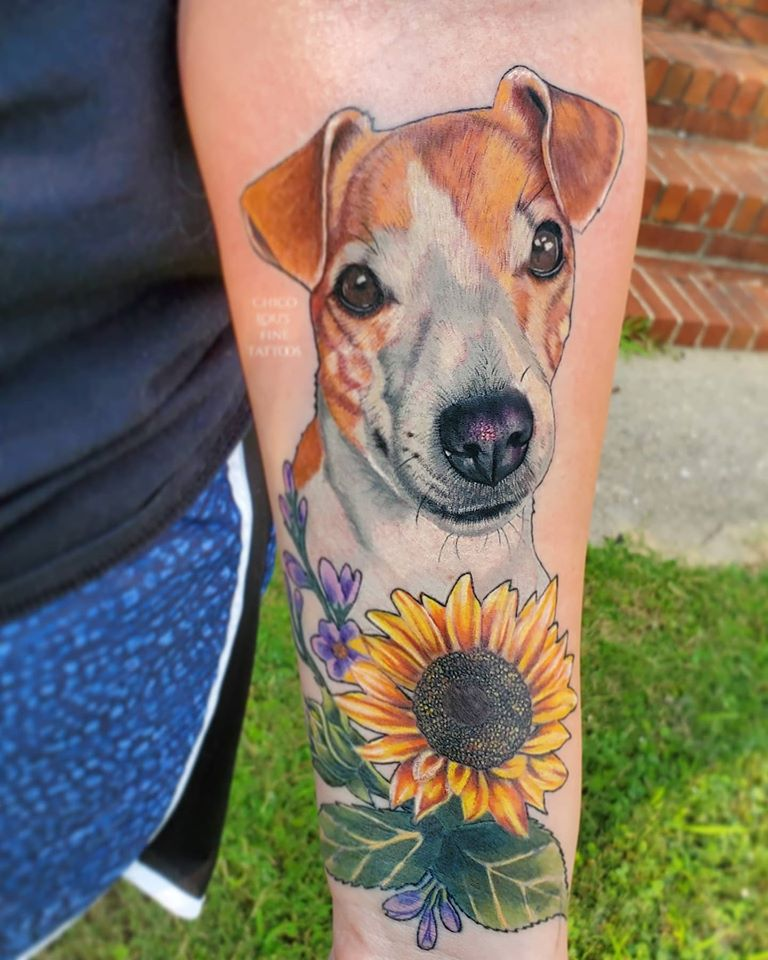 Coco by Chico Lou's Fine tattoos studio in Athens georgia GA. Artist - Sara Fogle