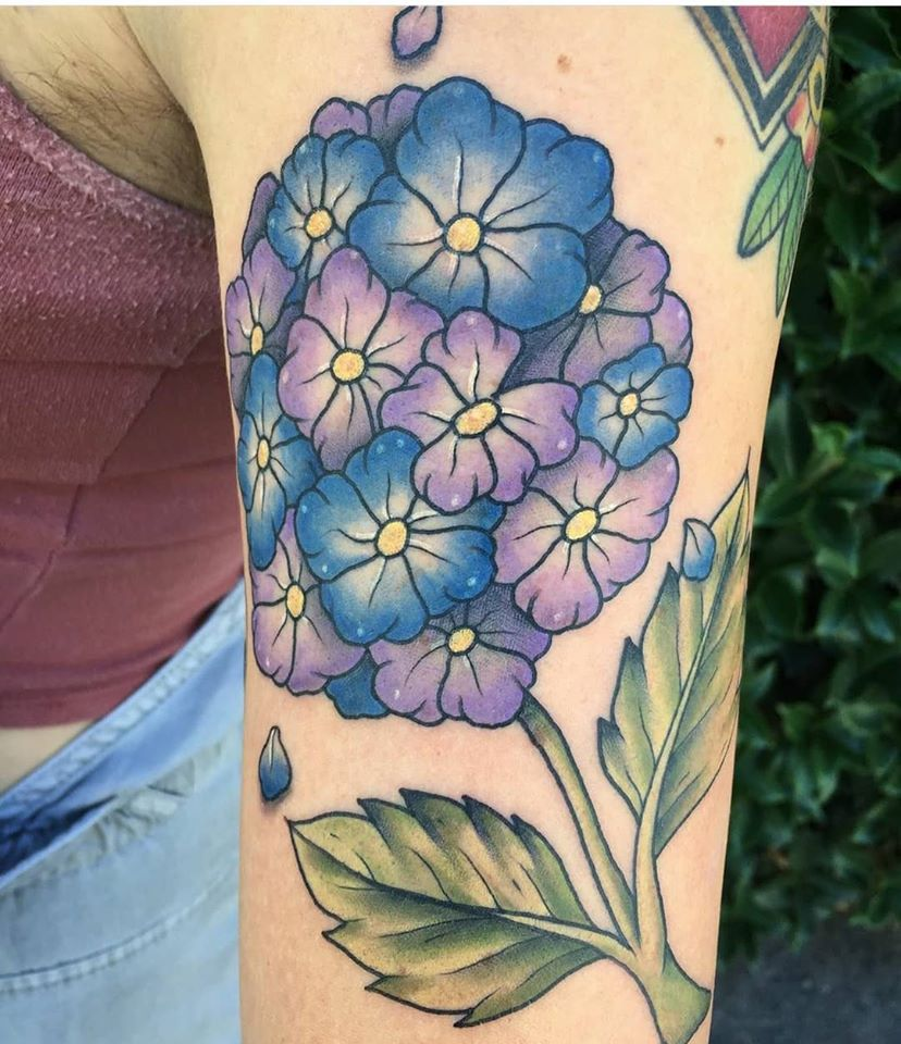 Flowers by Chico Lou's Fine tattoos studio in Athens Georgia GA. Artist - Darya Kalantari