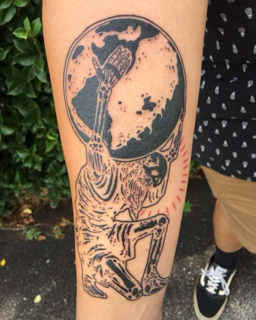 Atlas by Chico Lou's Fine tattoos studio in Athens Georgia GA. Artist - Darya Kalantari