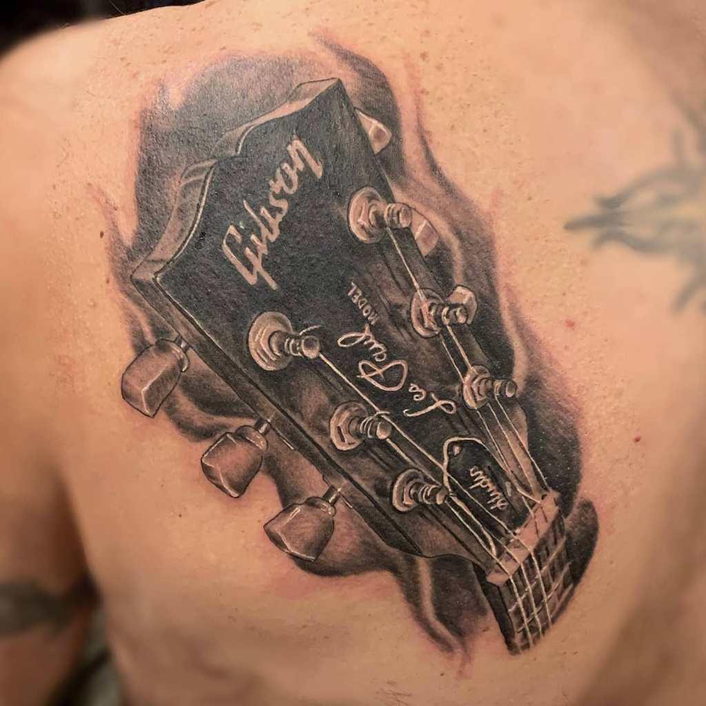 Gibson Les Paul by Chico Lou Fine Tattoos studio in Athens Georgia GA. Artist - Veronica Hahn