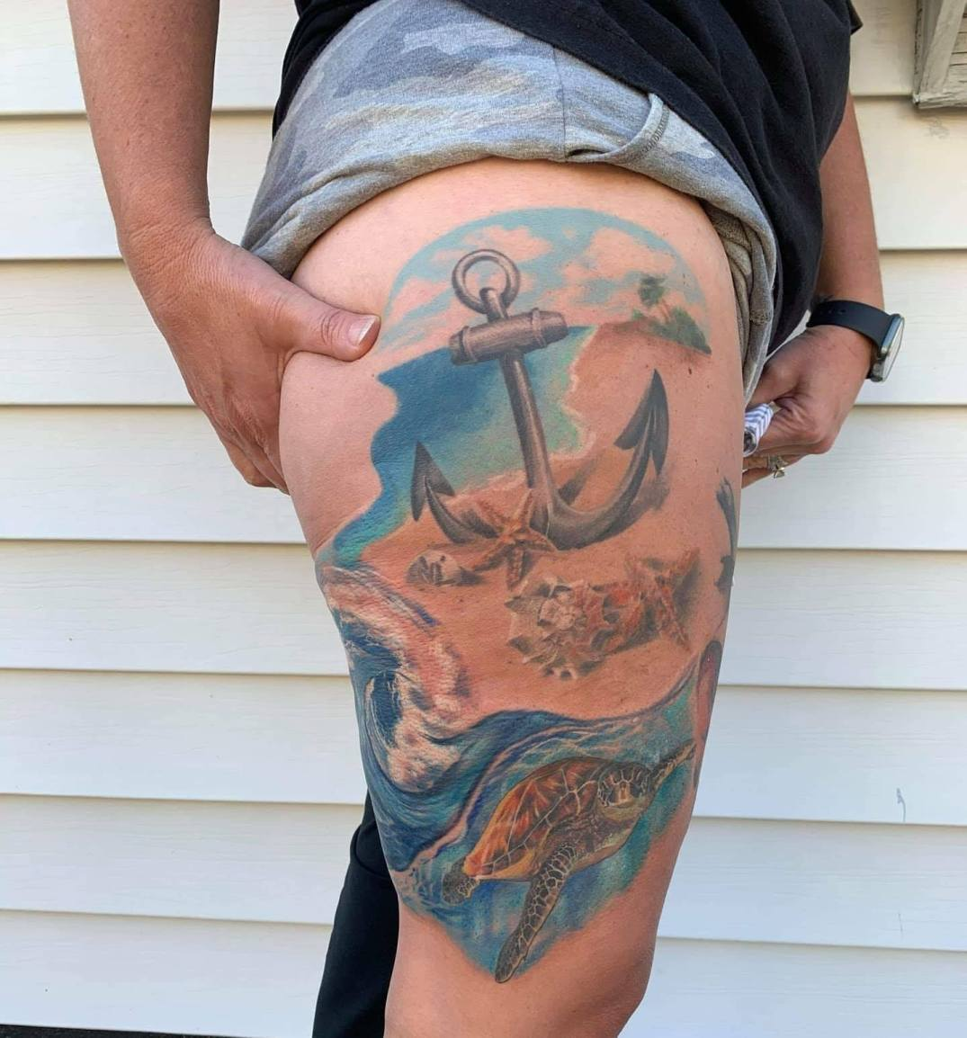 Beach by Chico Lou's Fine Tattoos studio in Athens Georgia GA. Artist - Veronica Hahn