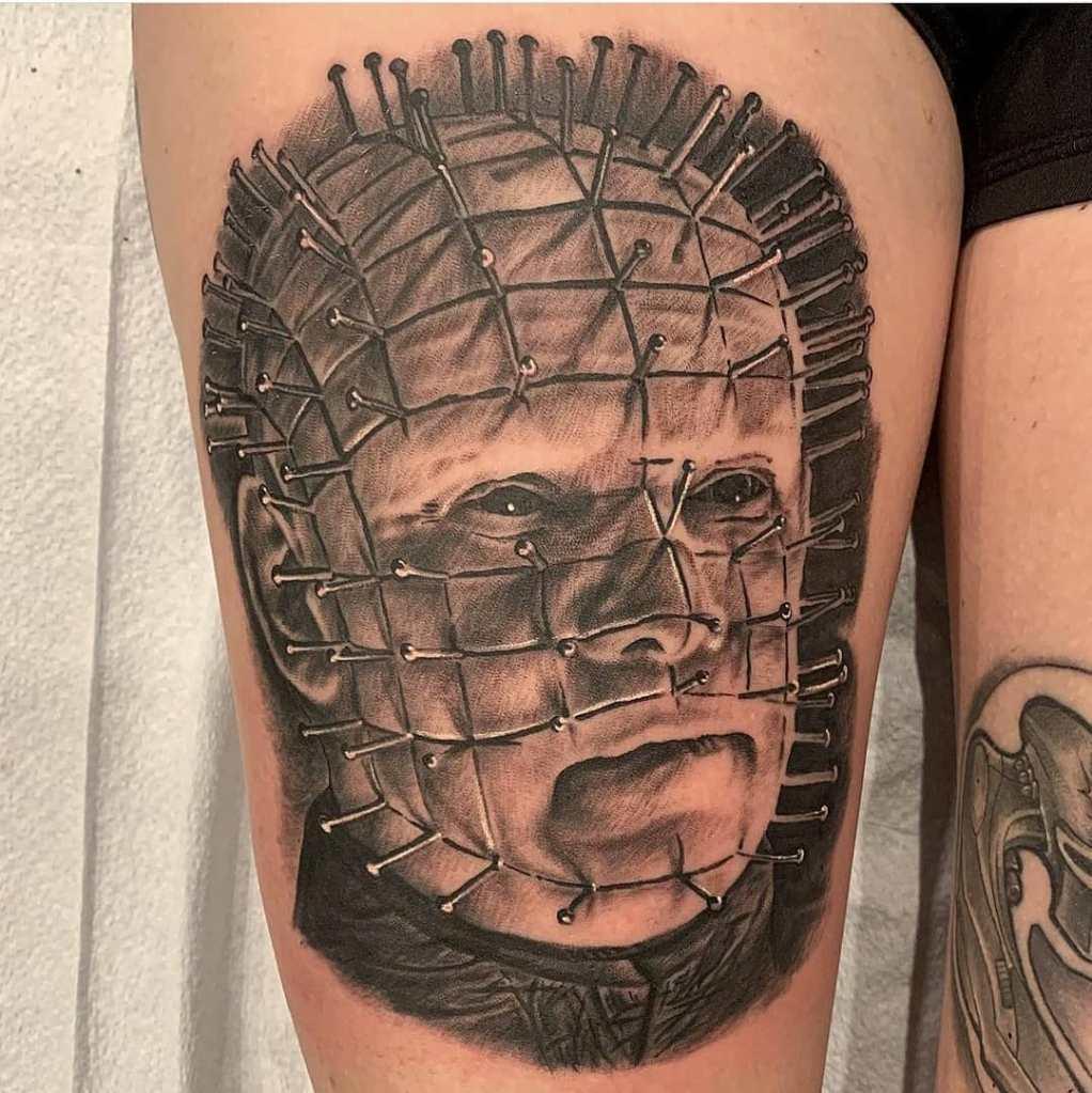 Pinhead by Chico Lou's Fine tattoos studio in Athens Georgia GA. Artist - Veronica Hahn
