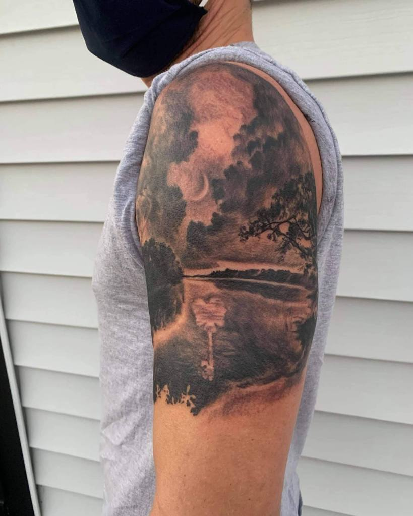Night sky scenery by Chico Lou's Fine Tattoos studio in Athens Georgia GA. Artist - Veronica Hahn
