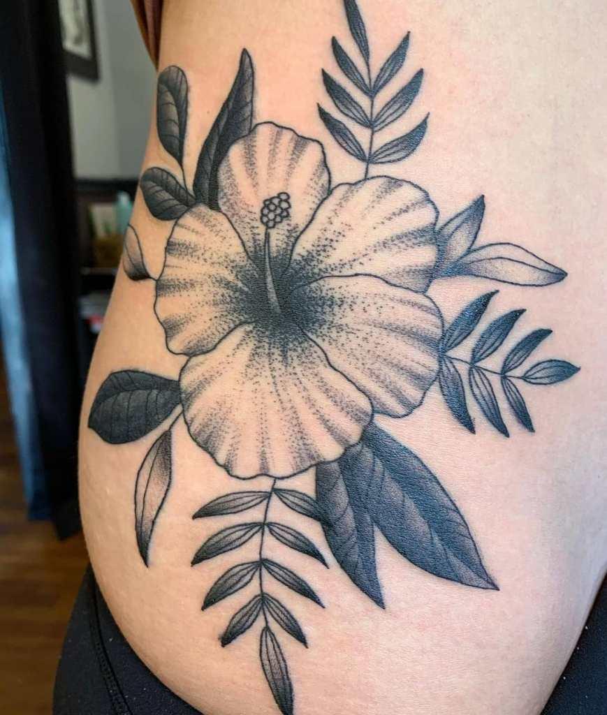 Blackwork floral by Chico Lou's Fine Tattoos studio in Athens Georgia GA. Artist - Darya Kalantari