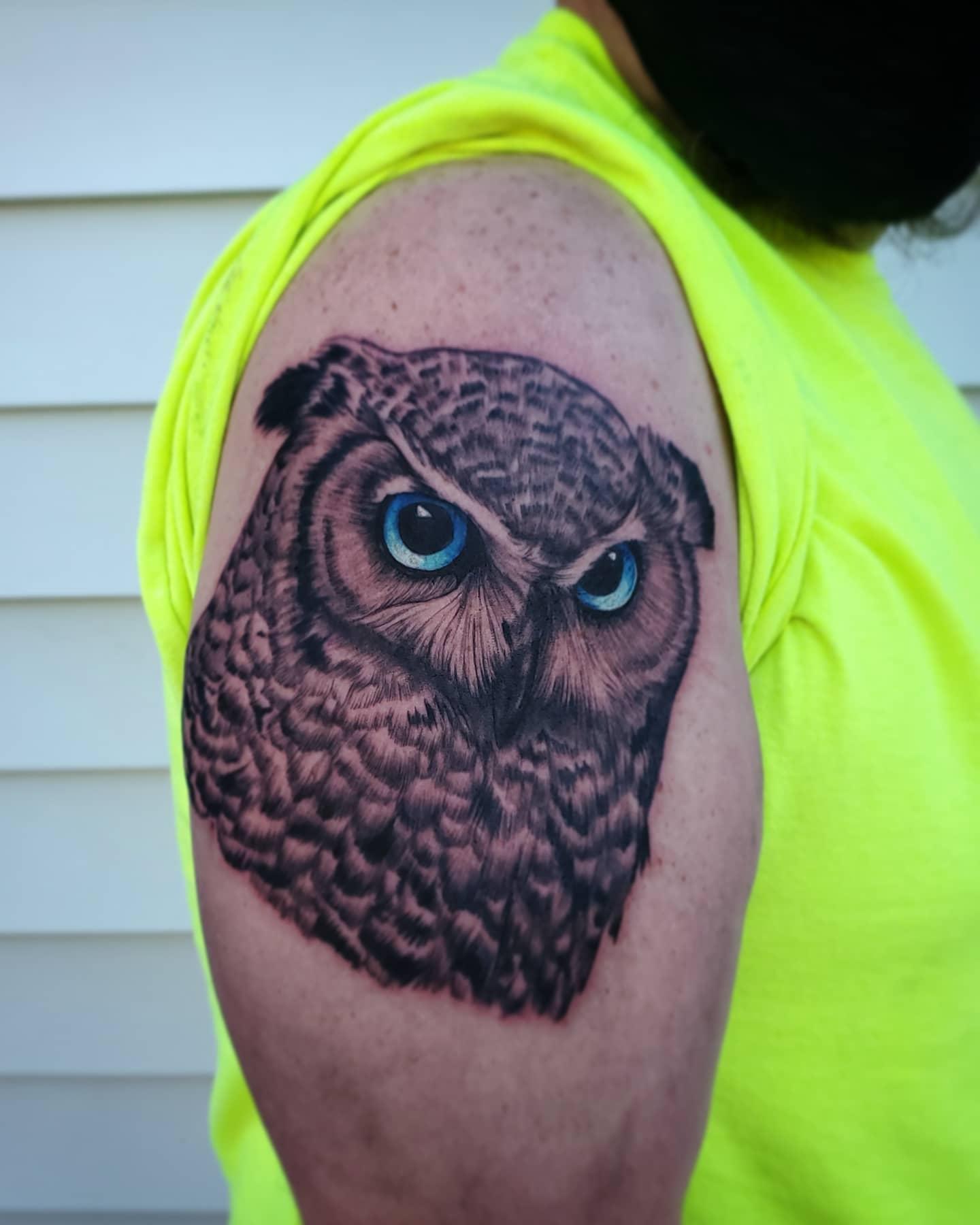 Owl by Chico Lou's Fine Tattoos studio in Athens Georgia GA. Artist - Sara Fogle