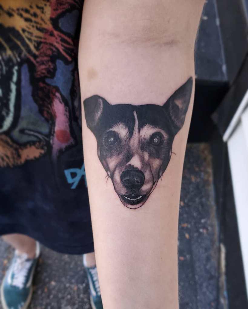 Pet portrait by Chico Lou's Fine tattoos studio in Athens Georgia GA. Artist - Sara Fogle