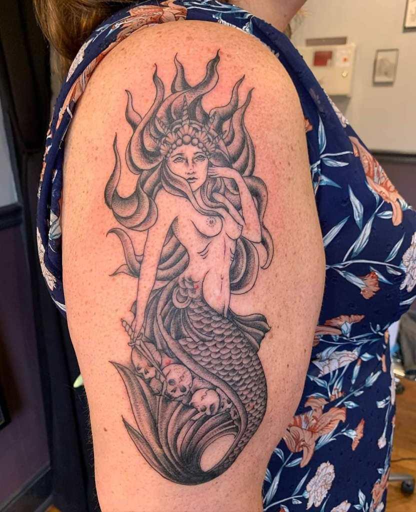 Siren by Chico Lou's Fine Tattoos studio in Athens Georgia GA. Artist - Jess Clark