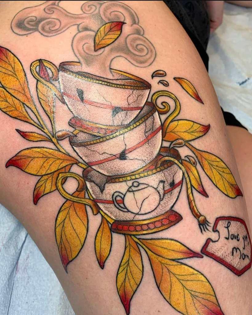 Teacups by Chico Lou's Fine tattoos studio in Athens Georgia GA. Artist - Darya Kalantari