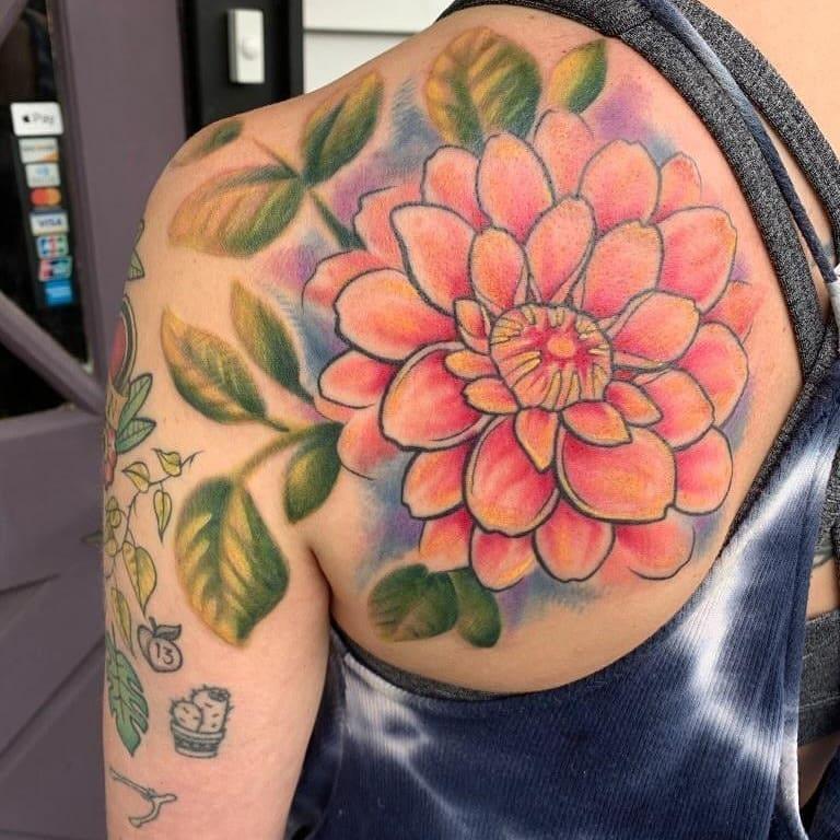 Flower by Chico Lou's Fine Tattoos studio in Athens georgia GA. Artist - Darya Kalantari