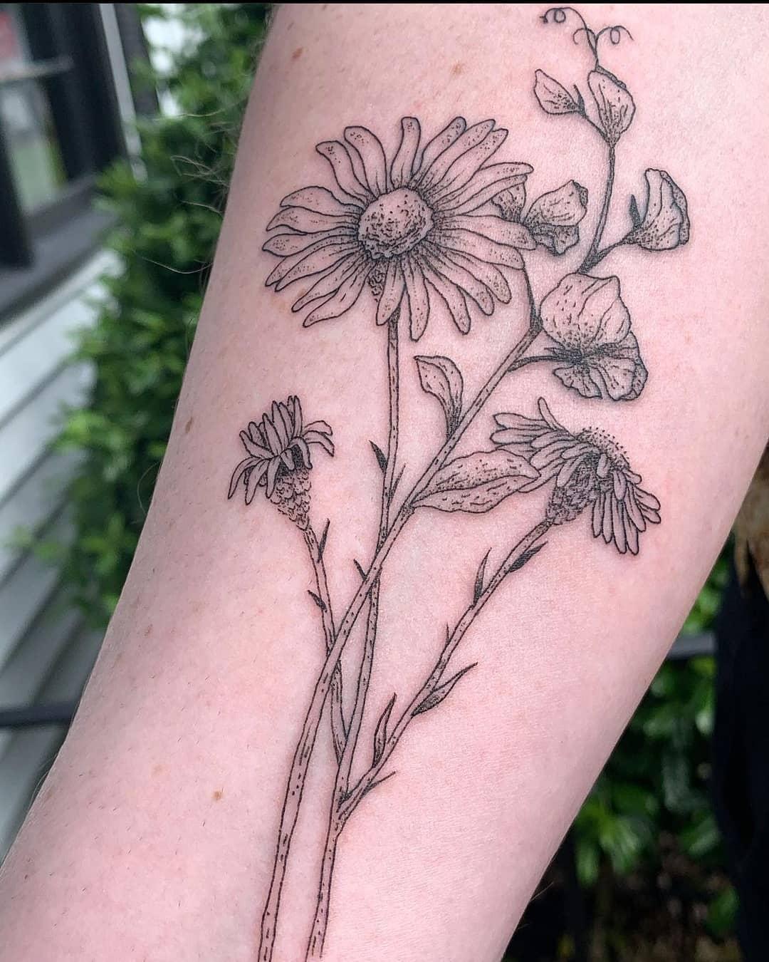 memorial flowers by Chico Lou's Fine tattoos studio in Athens Georgia GA. Artist - Darya Kalantari