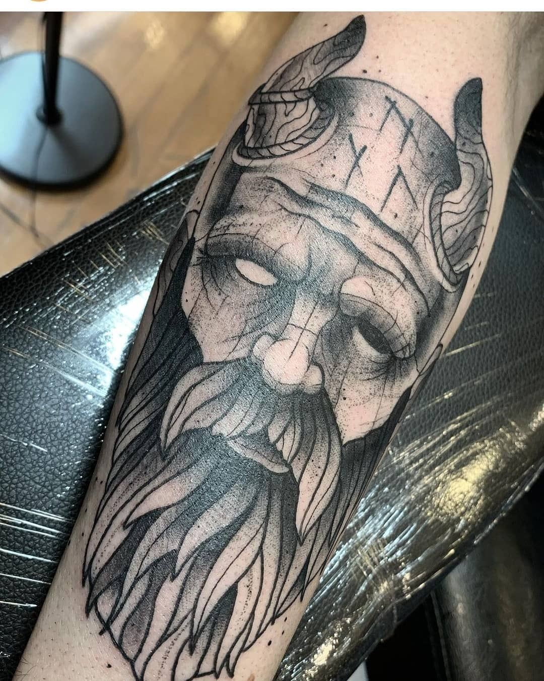 Mimir Norse god of knowledge by Chico Lou's Fine Tattoos studio in Athens Georgia GA. Artist - Darya Kalantari