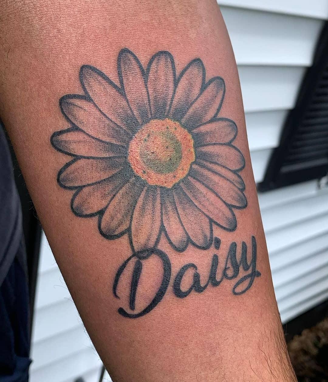 Daisy by Chico Lou's Fine Tattoos studio in Athens Georgia GA. Artist - Darya Kalantari