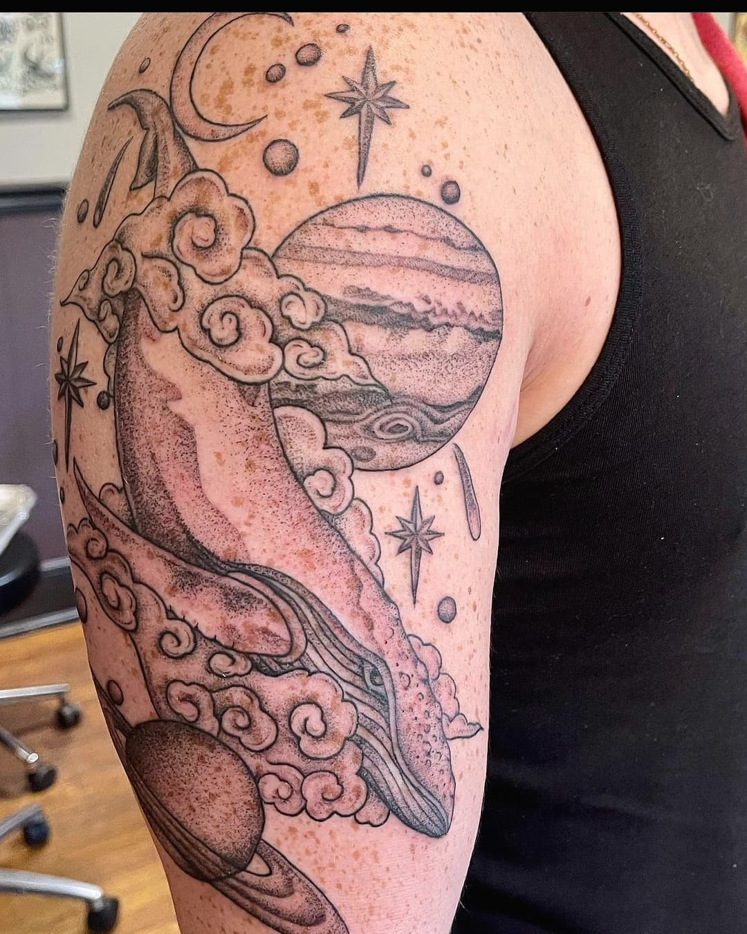 Space whale by Chico Lou's Fine tattoos studio in AthensGeorgia GA. Artist - Jess Clark